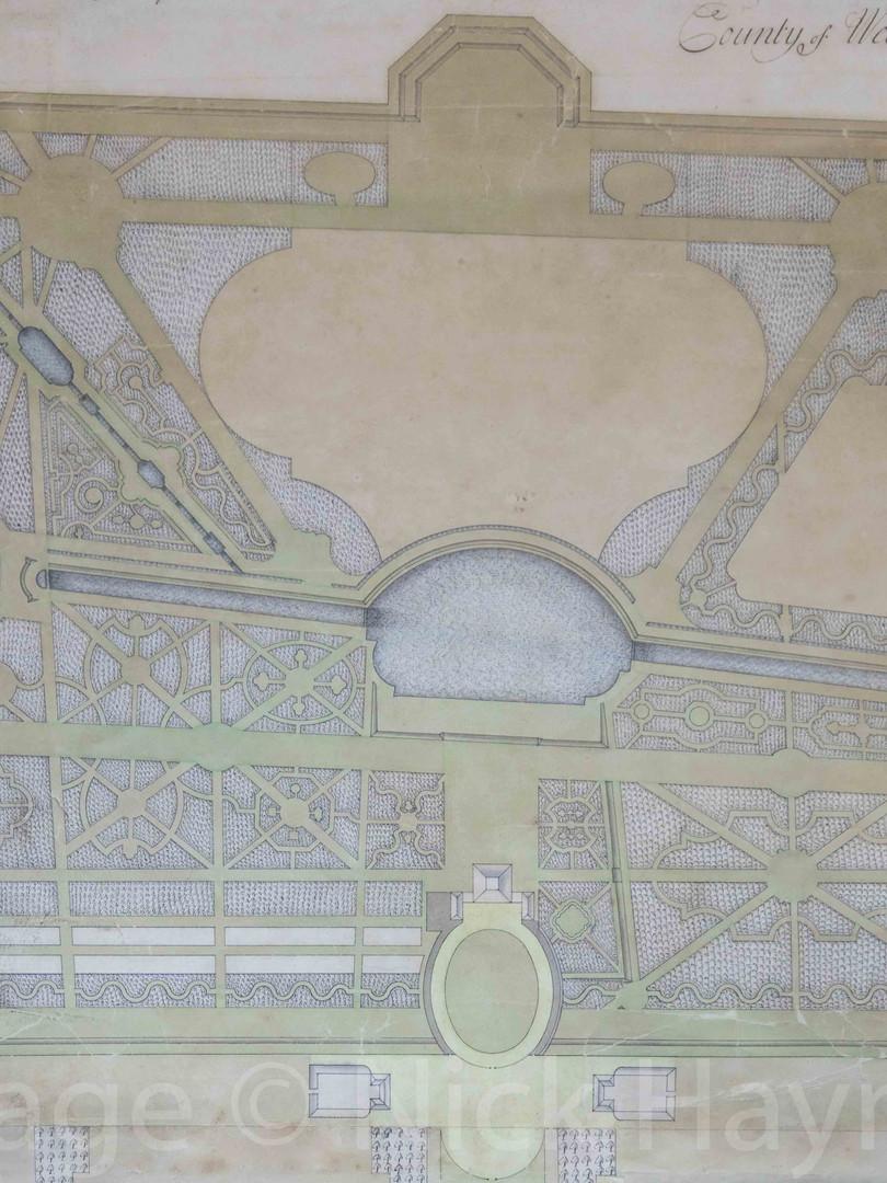 Detail of a garden plan, circa 1730