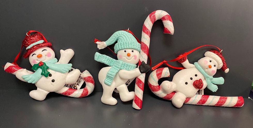 Candy cane Snowman 3asst