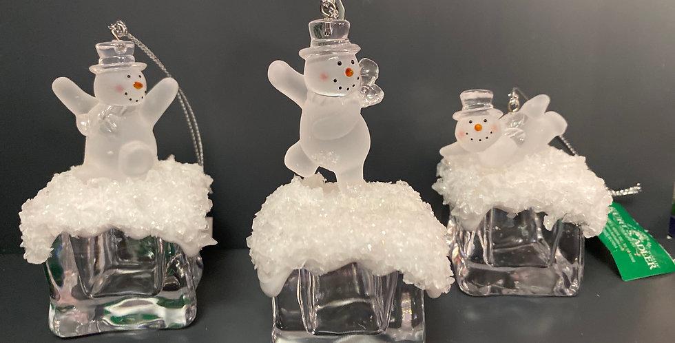 Snowman on ice cube