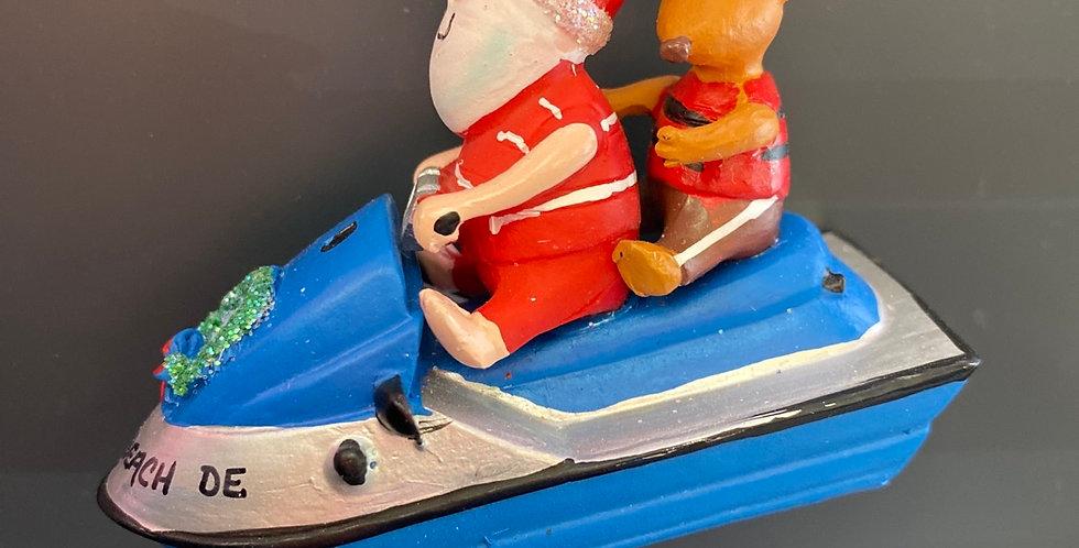 Santa and Reindeer on jet ski