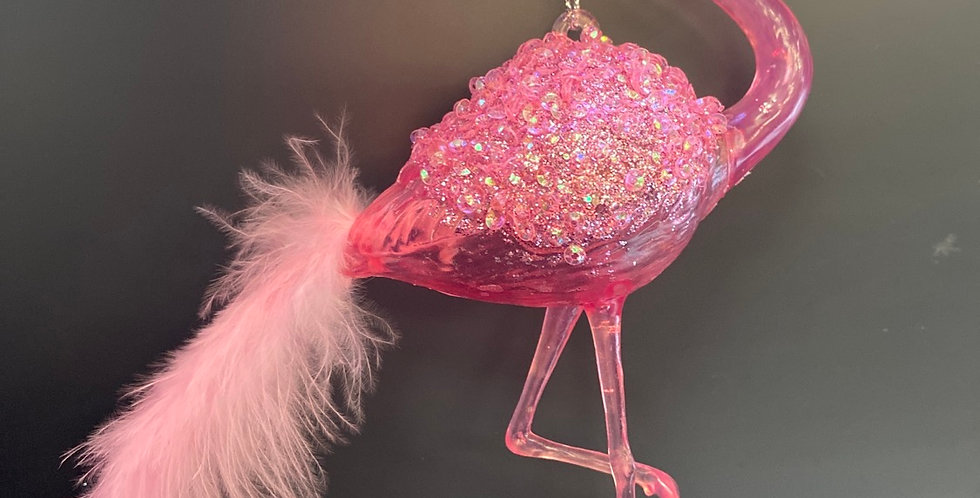 Acrylic Flamingo w feather