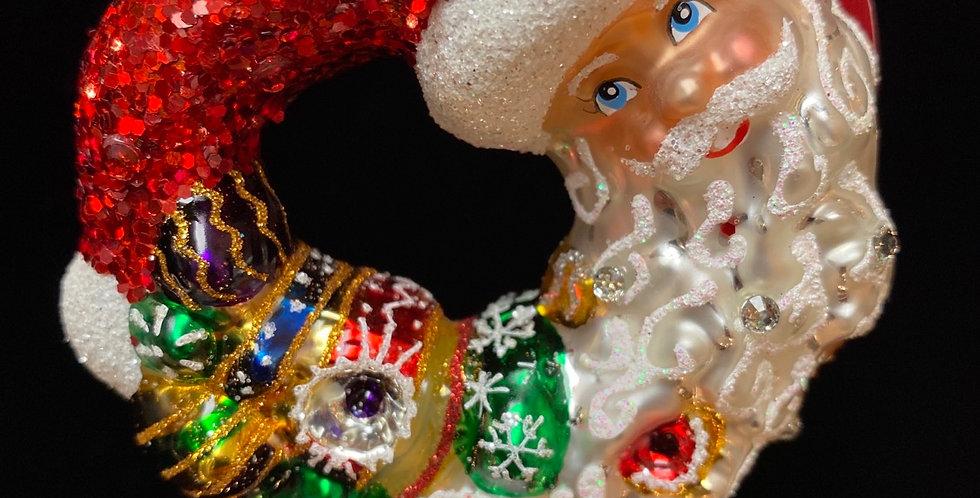 Santa comes full circle wreath Gem