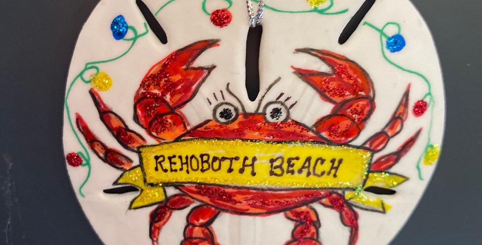 Red Crab w banner sand dollar