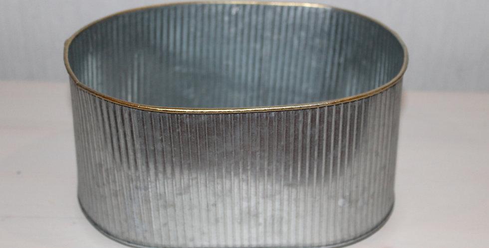 Schale Metall Oval Silber mit Goldrand