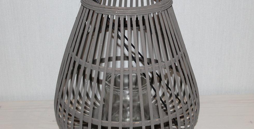 Laterne Holz Bauchig mit Glas Grau