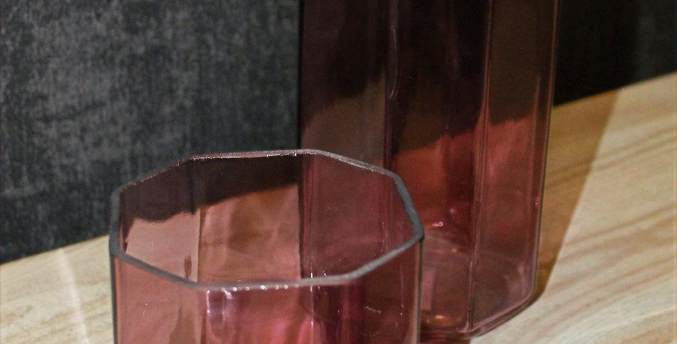 Windlicht zacken Rosa aus Glas