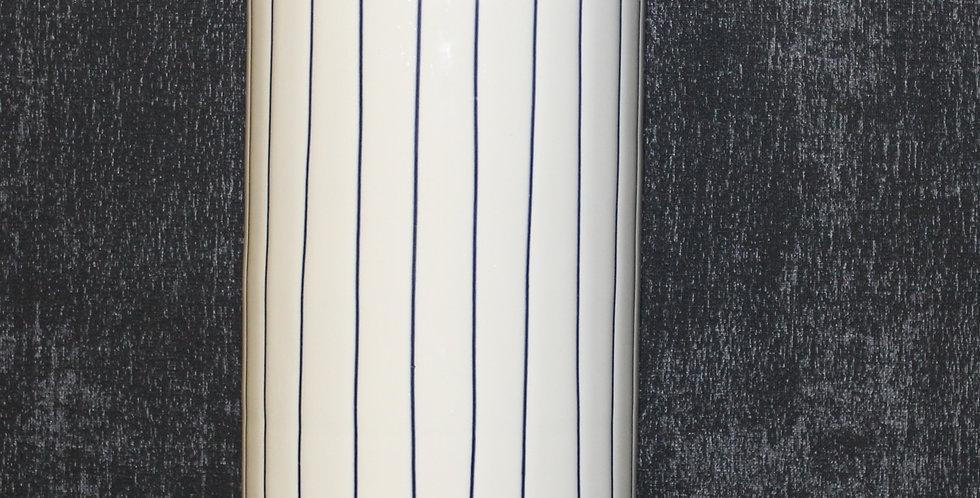Metall Vase Creme Mit Streifen