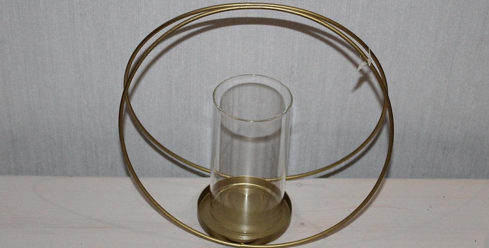 Teelicht im Metallbogen Gold