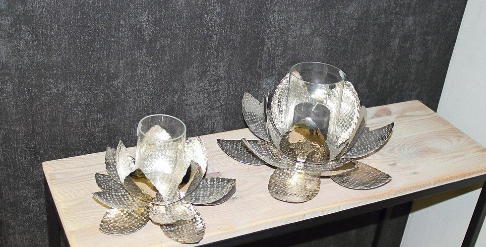 Windlicht Blüte Silber