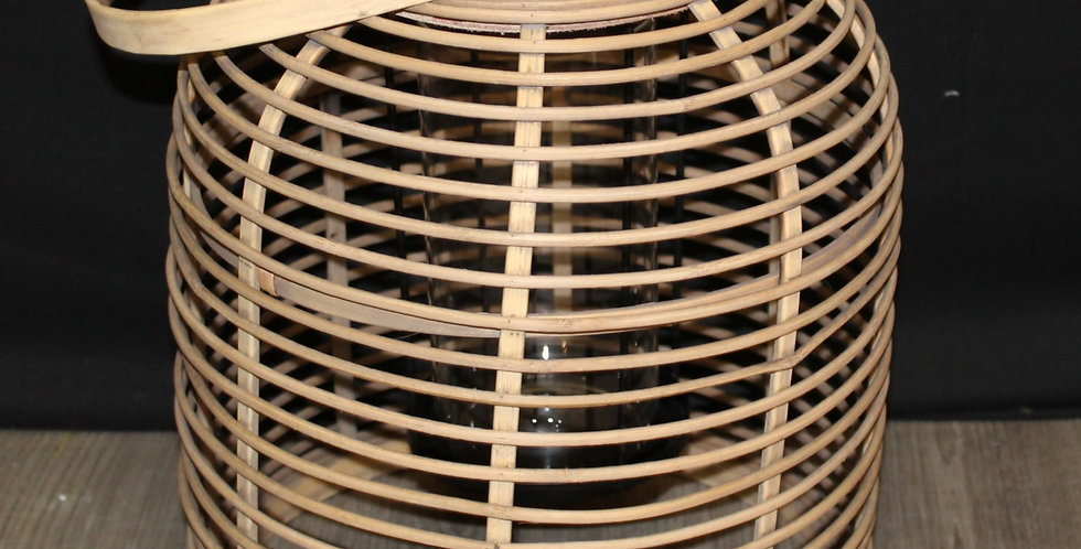 Laterne Holz Bauchig mit Glas