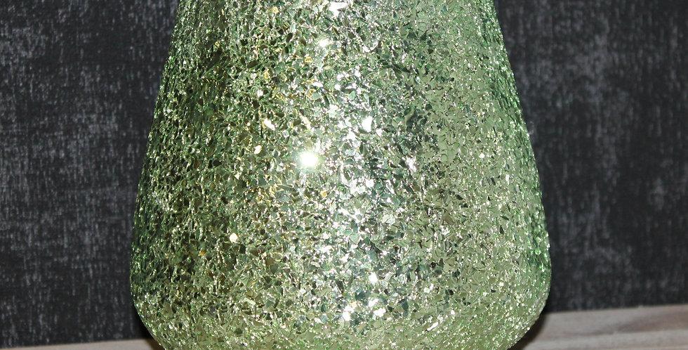 Teelicht Glas Grün Glitter