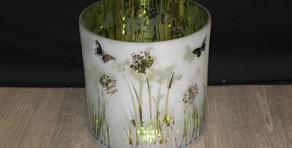 Teelicht Schmetterling Wiese Grün