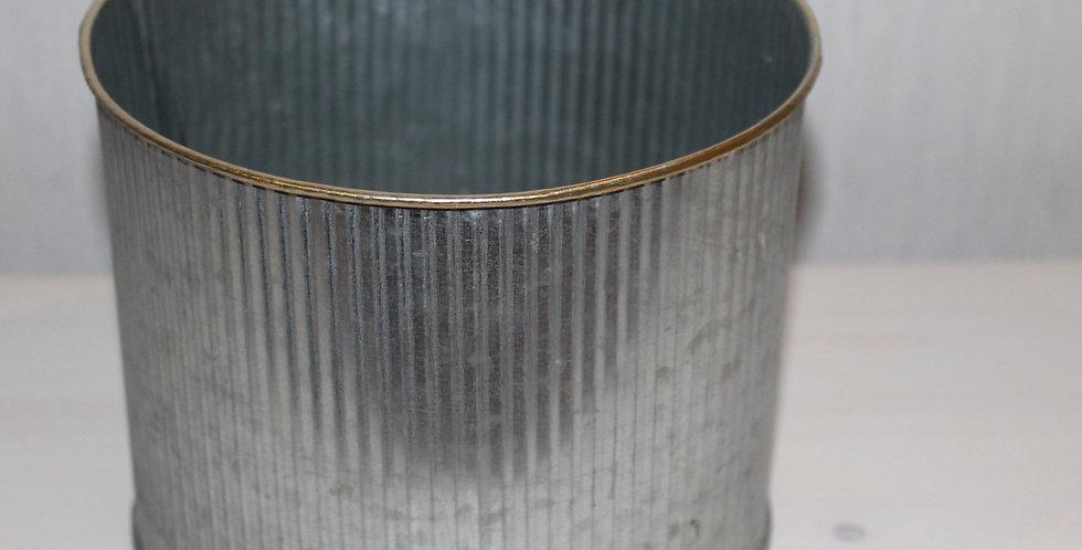 Topf Metall Silber mit Goldrand