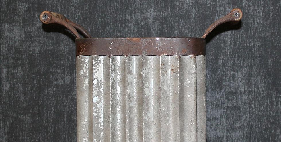 Topf Metall Grau/Braun mit Henkel