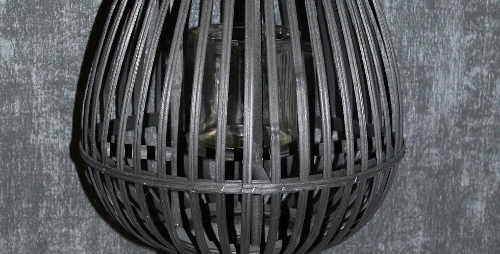 Laterne Bauchig mit Fuß Schwarz