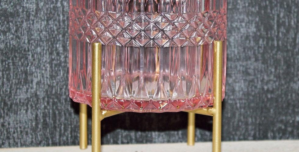 Teelicht auf Goldfuß hell rosa