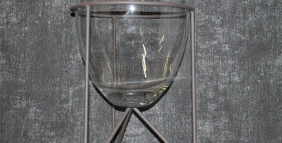 Glas auf Eisenfuß Schwarz
