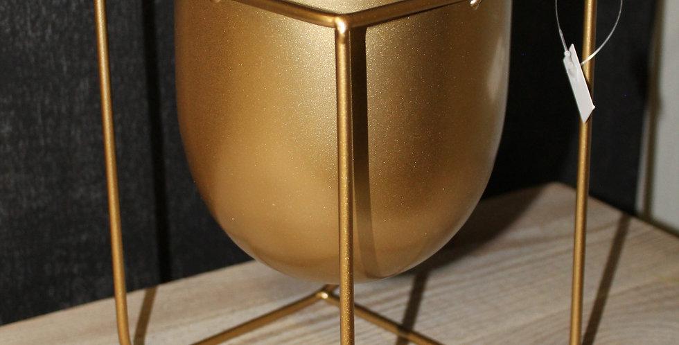 Topf Metall Gold Eckig