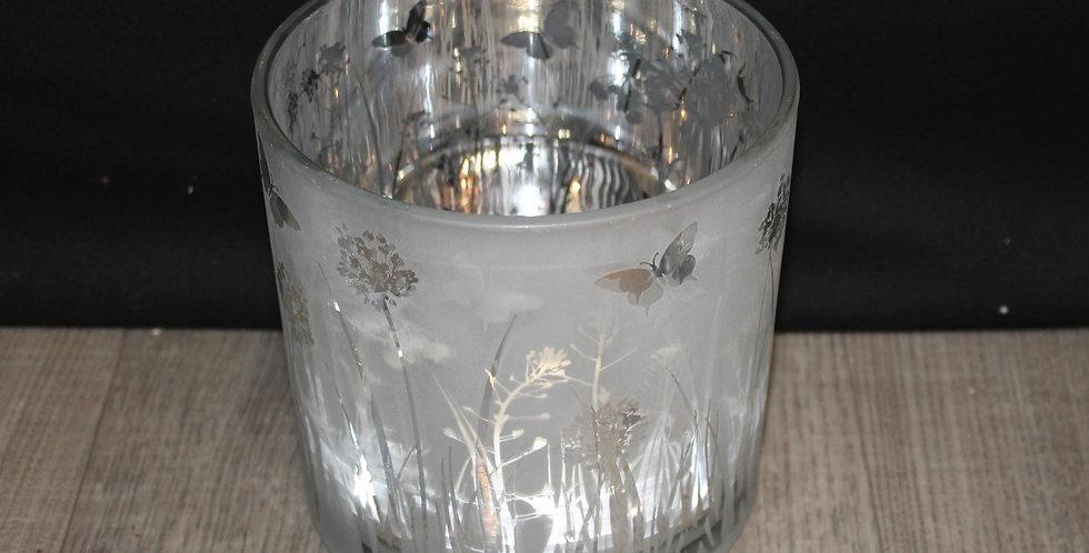 Teelicht Schmetterling Wiese Silber