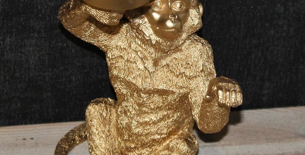 Affe Gold mit Teelichthalter