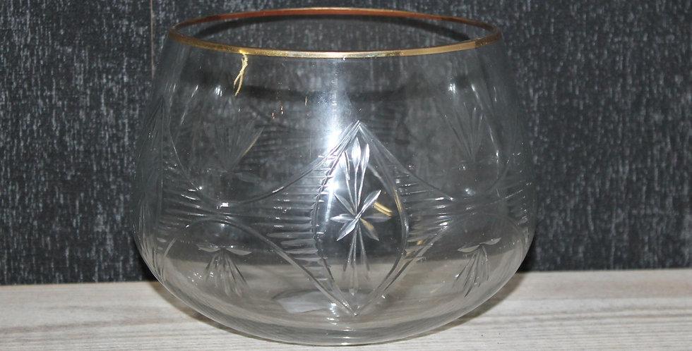 Teelicht Klarglas Bauchig  Mit Goldrand
