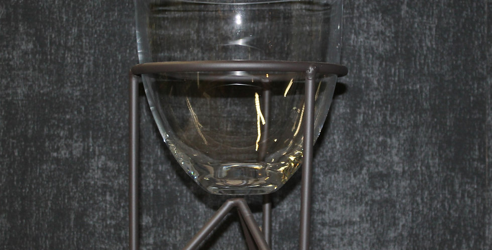 Glas auf Eisenständer Schwarz