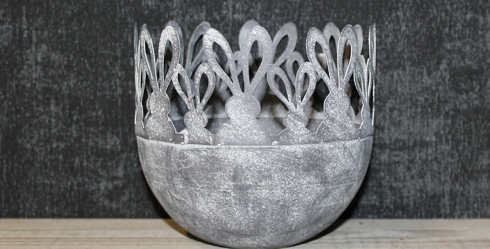 Topf Metall Hasenrand Grau