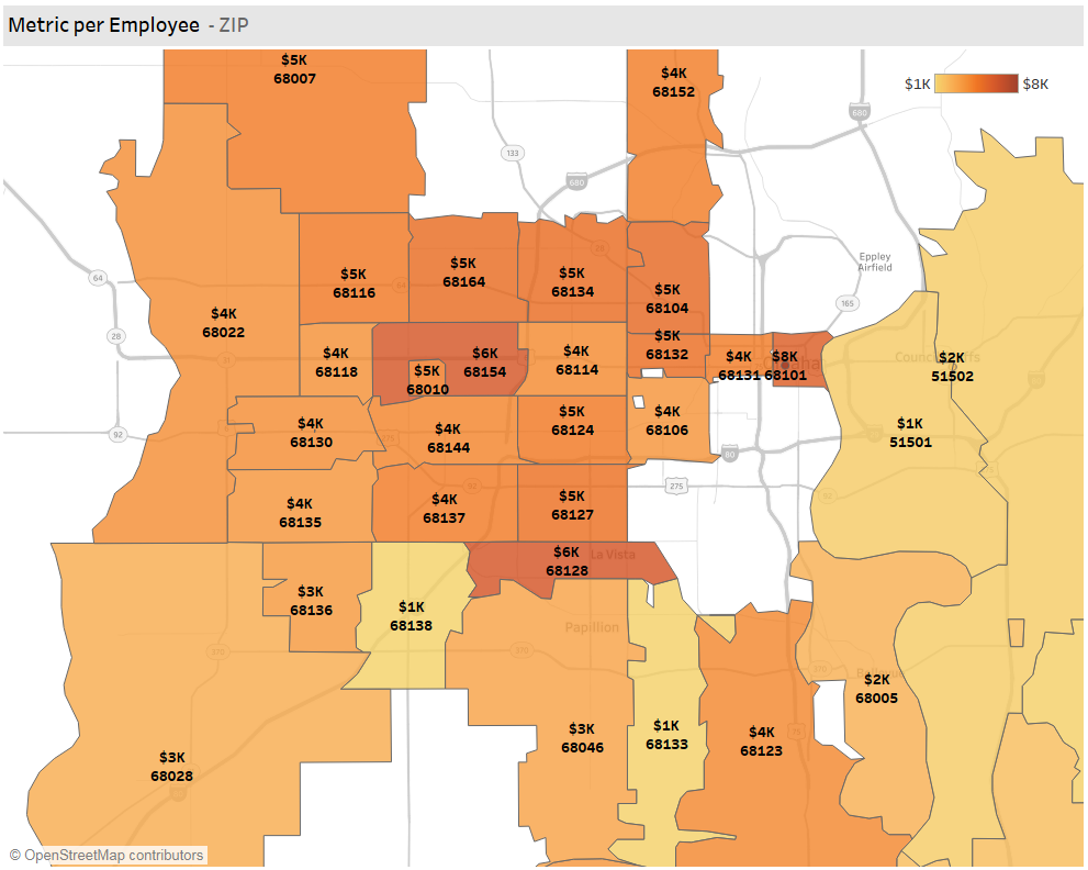 Omaha Fintech S&I Employees by County