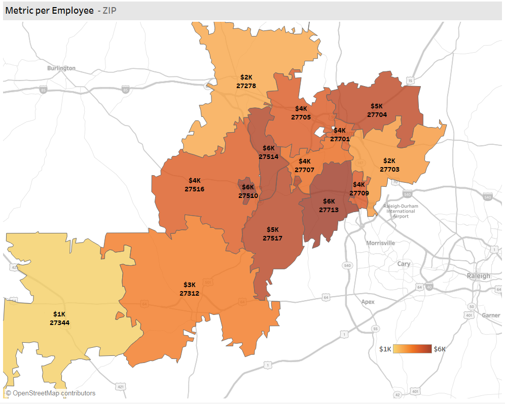 Durham Fintech Employee Spend by County (KDD Analytics)