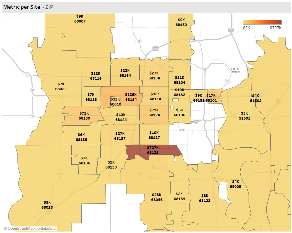 Omaha Fintech S&I Location Revenue by County