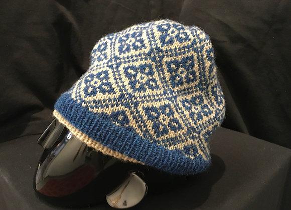 Flower Hat, Blue&grey