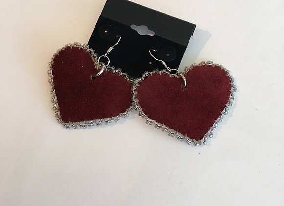 Coloured Tanned Hide and Beaded Heart Earrings