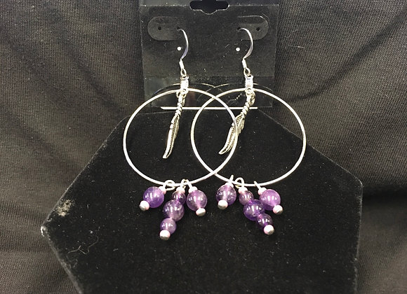 Feather Hoops with Amethyst