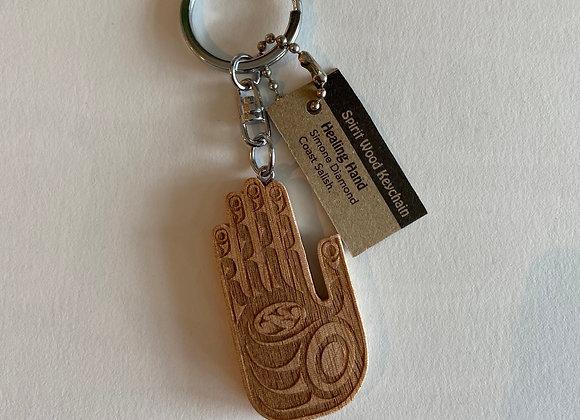 Healing Hand Wood Keychain