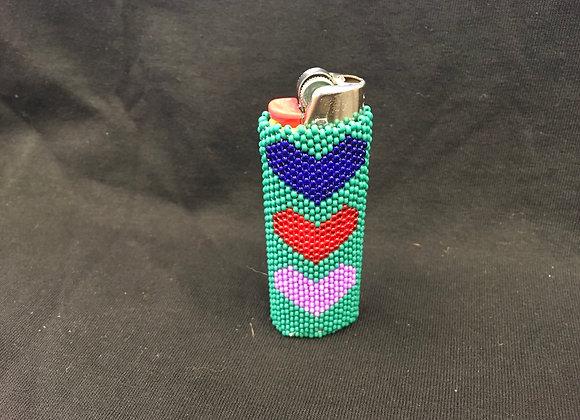 Beaded Lighter Case, Hearts