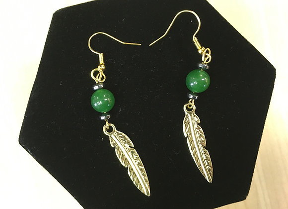 BC Jade & Feather Earrings