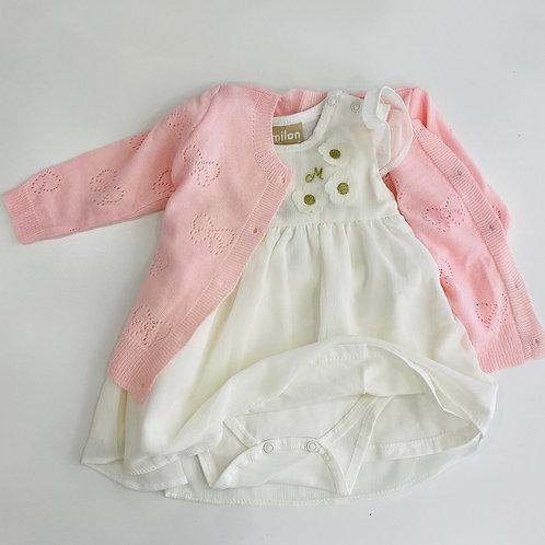 Chaqueta punto calada rosa bebe KYLY (206837)