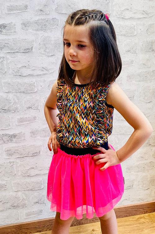 Vestido niña de tul combinado de B.NOSY  (Y102-5844)