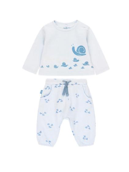Conjunto Punto bebé azul celeste caracol BOBOLI (102148)