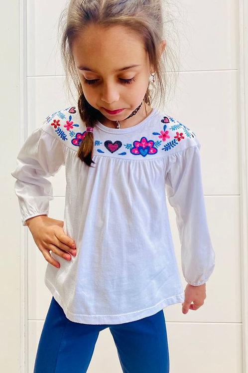 Camiseta niña bordado cuello  de NANAI (600150)