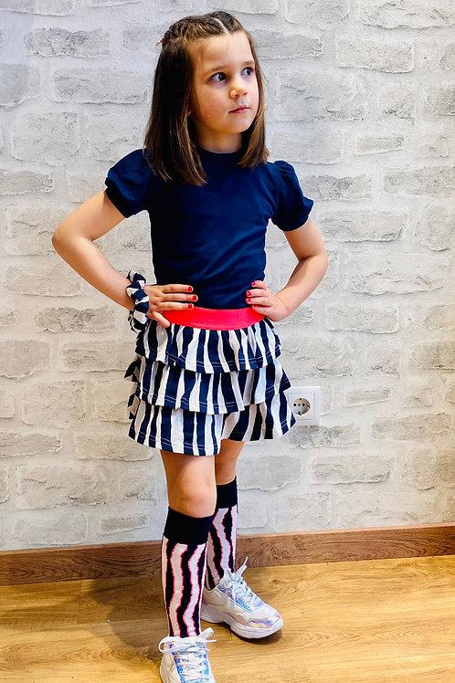 Vestido falda cebra combinado con camiseta de B.NOSY  (Y102-58331)