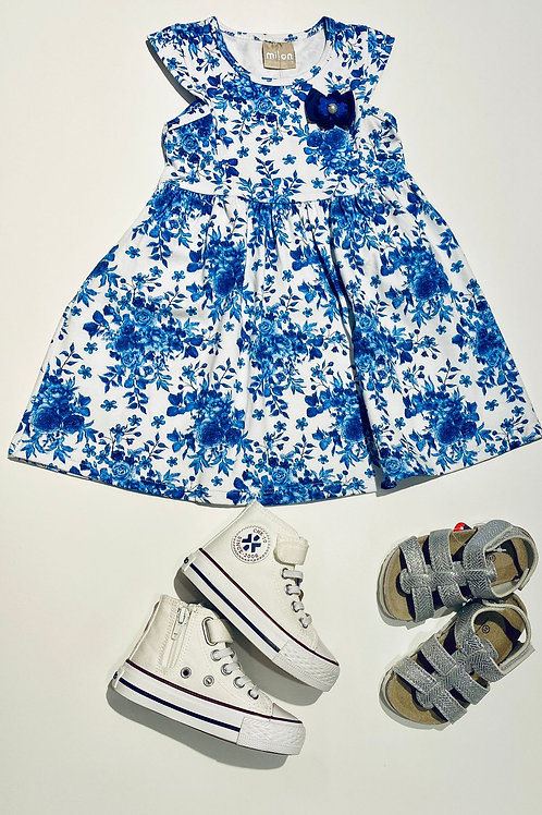 Vestido flores azules MILON (11075)