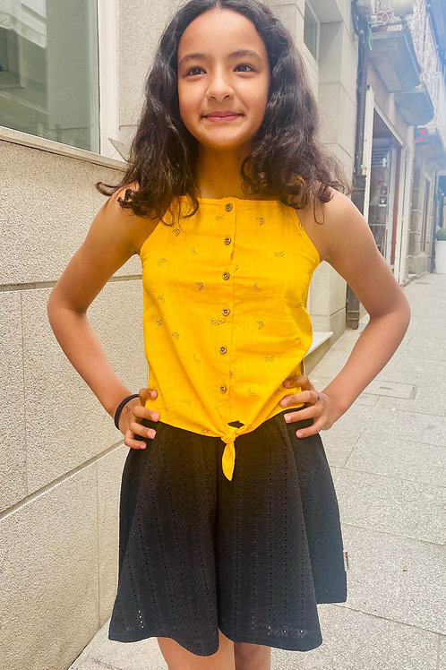 Camiseta de tiras plátanos amarilla B.NOSY (Y103-5460)