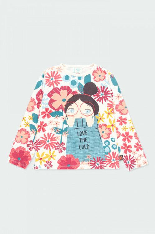 Camiseta punto elástico flores BOBOLI (413097)