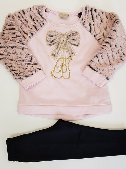 "Conjunto ""Bailarinas"" pelo rosa (11363)"