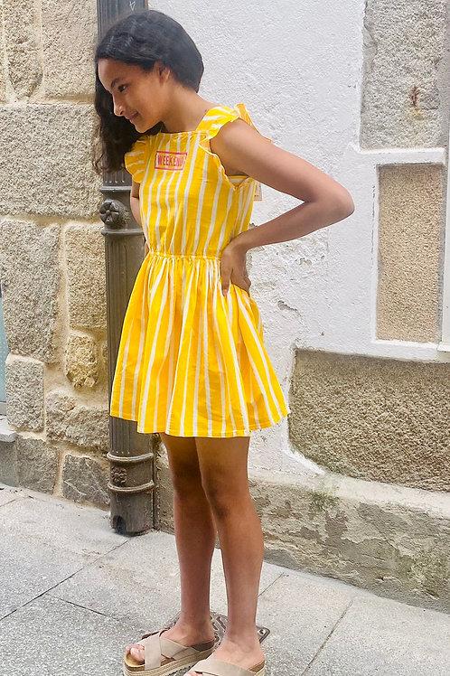Vestido amarillo weekend rayas blancas B.NOSY (Y103-5450)