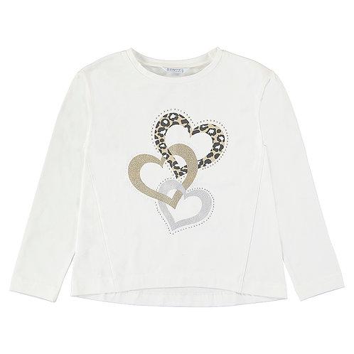 Camiseta blanca corazones MAYORAL (7085)