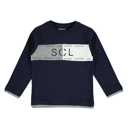 Camiseta azul marino bandas MAYORAL (4091)