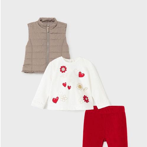 Conjunto niña (pantalón, camiseta y chaleco MAYORAL (2717)