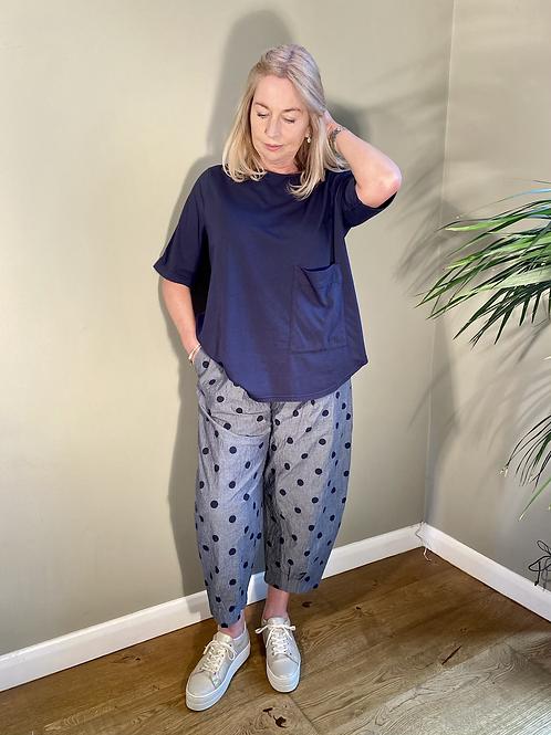 Mama B Bianco Chambray Blu Spot Pant